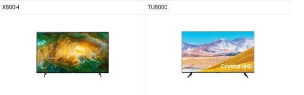 مقایسه تلویزیون سونی 55x8000h و TU8000 سامسونگ