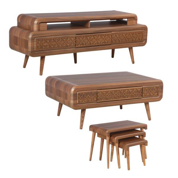 میز تلویزیون مدل رنزو به همراه میز پذیرایی مجموعه 5عددی